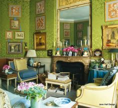 Paris apartment in Neo- Classical style furnishings with Modern color palette of Lime Green and Turquoise