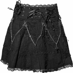Short gothic skirt by Queen of Darkness, with chains, eyelets and satin ribbon details.