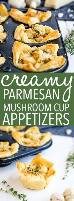 These Creamy Parmesan Mushroom Cup Appetizers are the perfect finger food for Ne. These Creamy Parmesan Mushroom Cup Appetizers are the perfect finger food for New Years Eve and hol New Year's Eve Appetizers, Finger Food Appetizers, Easy Appetizer Recipes, Easy Finger Food, Finger Food Recipes, Appetizer Dessert, Appetizers For New Years, Easy Vegetarian Appetizers, Easy Appetizers For Party