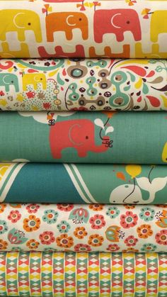 Rebekah Ginda for Birch Organic Fabrics, Frolic, Girl 6 FAT QUARTERS in Total.  I like these colors and fabrics for the nursery!