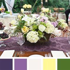Purple, White, Lemon, Green Color Palette. Gold > Yellow.