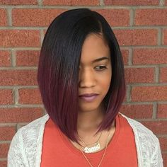 STYLIST FEATURE| Beautiful classic #bobcut ✂️ styled by #ATLStylist @Hair.By.Yani Love that pop of color #VoiceOfHair