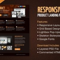 Product landing page template psd html/css , no waiting time required! Fast download.
