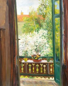 HENRIK C. NORDENBERG (1857-1928)  View through open door over balcony on flowering bush