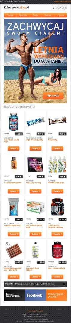 Letnia wyprzedaż w sklepie Kulturystyka.sklep.pl / https://panel.sendingo.pl/kampania/87b / #newsletter #email #emailmarketing #template #design