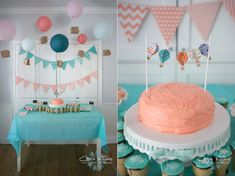 Up Up and Away, Hot Air Balloon Girl's Birthday Party. Birthday Party Inspiration.  Aqua, Coral, Pink, Birthday Party. Toddler Girl Birthday Party.