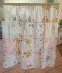 Vintage hankerchief curtain