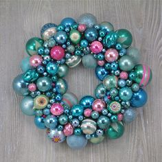 Faded Blue, Aqua and Pink Christmas Ornament Wreath with Vintage Polish Indents and Shiny Brites