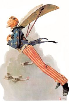 "Norman Rockwell. ""Uncle Sam Takes Wings"".  Post Cover January 21, 1928. Another celebration of aviation, (humorously painted,) Uncle Sam seems very pleased with himself."