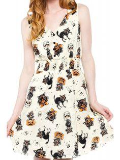 Sourpuss Women's Black Cats Gauzy Dress