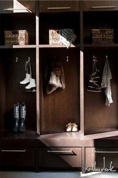 Kelly Deck Design | Compass Pointe Modern/contemporay mudroom, individual storage cubbies with drawers