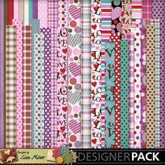 Two Fourteen Digital Scrapbook Papers, love paper, plaid paper, polka dot paper, heart paper, valentine paper, valentine scrapbook, love scrapbook, pink scrapbook, purple scrapbook,