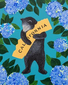 """I Love You California"" Hydrangea Print by local artist Annie Galvin at 3 Fish Studios in San Francisco, California. Printed on-site with UltraChrome inks on Hot Press Bright paper. Archival, highest possible quality. Into The Wild, California Dreamin', Northern California, Oceanside California, Music Covers, Local Artists, Hydrangea, San Diego, San Francisco"