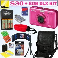 Nikon COOLPIX S30 10.1 MP Shockproof & Waterproof Digital Camera (Pink) + 4 AA Batteries & Charger + 8GB Deluxe Accessory Kit by Nikon. $119.95. A camera to go everywhere Families now have a camera to take wherever they go. Waterproof and shockproof, the COOLPIX S30 is ideal for everything from poolside fun to playground action. A 10.1 MP sensor produces top quality images, ideal for printing and sharing. The 3x wide-angle lens frames clear memories of all the important people ...