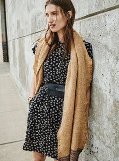 madewell silk blossom dress worn with the borderweave scarf.