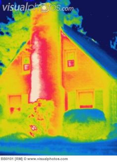 chimney heat loss house houses infrared insulation thermogram thermograms thermography.