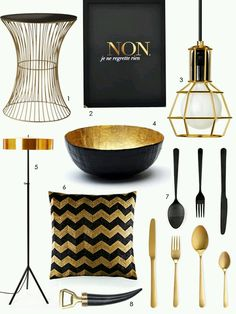 Black Gold Bedroom more black and gold from Apartment Therapy. I love the poster, and the bowl is an easy diy - Lately I can't get enough of the rich, dark drama of black and gold Black Gold Bedroom, Black Walls, Gold Rooms, Gold Home Decor, Gold Interior, Interior Ideas, Interior Design, Black Gold Jewelry, Black White Gold