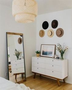 calm and classic decor Inspired by old factory spaces in Brooklyn, this iron-and-mango wood floor mirror adds industrial style to rooms. Decoration Bedroom, Decor Room, Home Decor Bedroom, Diy Home Decor, Industrial Bedroom Decor, Ikea Bedroom, Scandinavian Interior Bedroom, Simple Bedroom Decor, Bedroom Drawers