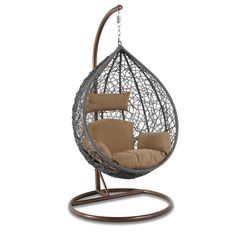 Modern Hanging Swing Chair Stand Indoor Decor Home Ideas Wicker Swing, Egg Swing Chair, Hanging Hammock Chair, Swinging Chair, Swing Chairs, Rope Hammock, Camp Chairs, Ikea Chairs, Desk Chairs