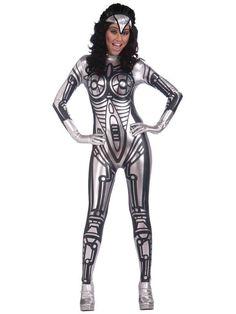 Ladies Robot Fancy Dress Jumpsuit Costume Silver Cyborg Catsuit Sexy Metallic…