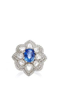 18K White Gold Sapphire And Rose Cut Diamond Ring Double Row Pave Diamonds by Nina Runsdorf for Preorder on Moda Operandi