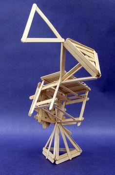 Popsicle stick sculpture: Tri Cube 1 by Kibumi24