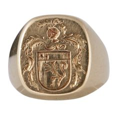 Armorial Signet Ring | From a unique collection of vintage signet rings at http://www.1stdibs.com/jewelry/rings/signet-rings/ $1950