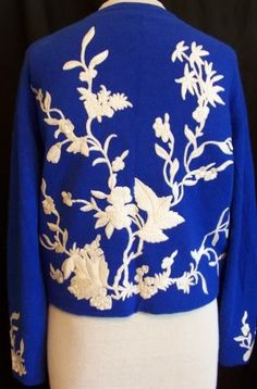 elabrately embroidered and appliqued 1950s cashmere sweater in cobalt blue by Helen Bond Carruthers, DCV archives