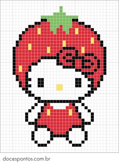 Strawberry Hello Kitty perler bead pattern