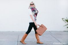 3 Reasons You Need a Plaid Blanket Scarf - Little Miss Fearless Navy Leggings, Plaid Blanket Scarf, How To Wear Scarves, Mom Outfits, Cozy Sweaters, Mom Style, What To Wear, Autumn Fashion, Dresses For Work