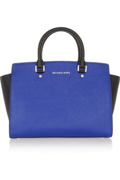 Michael Kors 'Selma' textered leather tote in bright blue and black