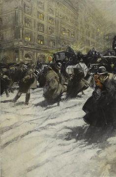 Ashcan School (II) Everett Shinn Shinn f. American Realism, American Artists, Snow Scenes, Winter Scenes, New York Street, New York City, Ashcan School, Most Famous Artists, Urban Life