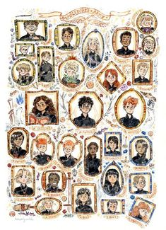 Dumbledore's Army! I'd been wanting to do another watercolour portrait wall, and with the anniversary of Harry Potter this year it seemed like the right choice (/great excuse) to draw these cool,. Magie Harry Potter, Arte Do Harry Potter, Harry Potter Artwork, Harry Potter Drawings, Harry Potter Tumblr, Harry Potter Wallpaper, Harry Potter Pictures, Harry Potter Fan Art, Harry Potter Universal