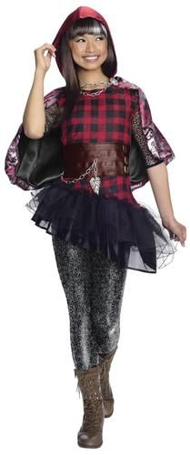 This costume includes a dress with attached belt, hooded cape, and leggings. Does not include boots. This is an officially licensed Ever After High costume.