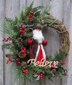 Christmas Wreath, Holiday Wreath, Santa Claus Wreath, Woodland, Designer Holiday Wreath, Elegant Christmas Wreath on Etsy, $189.00