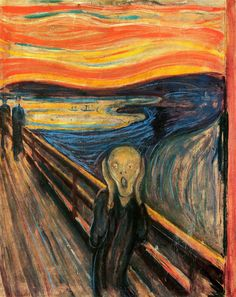 The Scream by Edvard Munch. Created in a set of 4 in the mediums of Oil, tempera, and pastel on cardboard by the Expressionist artist Edvard Munch between the years 1893 and Der Schrei der Natur (The Scream of Nature) is the title Edward gave the work. Rembrandt, O Grito Edvard Munch, Le Cri Munch, Munch Munch, Edward Munch, Yato And Hiyori, Most Famous Paintings, Popular Paintings, Famous Artists