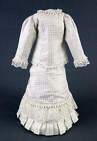 Lattice Weave Cream Silk Lady Doll's Ensemble - Out Of The Attic #dollshopsunited