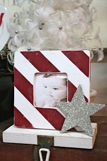 Adorable homemade stocking holders... use first Christmas pictures in frame