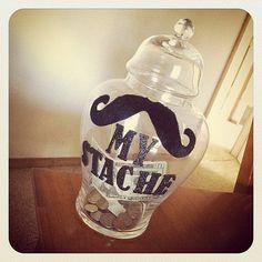 My 'Stache  Mustache Piggy Bank Jar perfect for by stacheyourstuff, $15.99