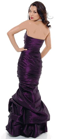 SALE! Purple Strapless Taffeta Mermaid Style Evening Gown in Large - #saledresses