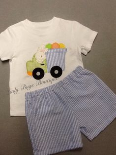 Boys Easter Applique shirt and seersucker by msladybugboutique, $25.00