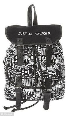 Justin Bieber Black and White Backpack. Authentic Justin Bieber Official Brand #JustinBieber #Backpack