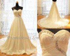 2015 gorgeous sweetheart sweep train strapless beaded wedding dress, bridal dress #weddingdress #coniefox #2016prom
