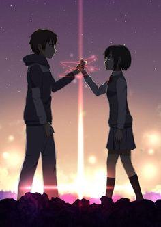 Kimi no na wa (Your name. Anime Sky, Film Anime, Anime Love Couple, Cute Anime Couples, Otaku Anime, Manga Anime, Anime Comics, Kimi No Na Wa Wallpaper, Your Name Wallpaper