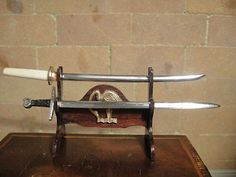 1:12 scale artisan sword display with Samurai Sword and Don Henry Sword with Sheath