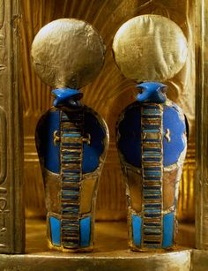 Urei, detail of back of Tutankhamun's throne, wood covered with gold bezels made of semi-precious stones, terracotta and glass paste, from Tomb of Tutankhamun, Egyptian Civilization, New Kingdom, Dynasty XVIII