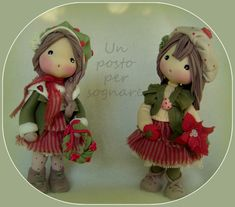 CHRISTMAS DOLLS, BAMBOLINE   IN PORCELLANA FREDDA, PASTA DI MAIS