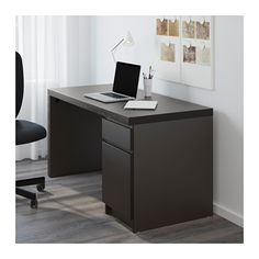 MALM Desk IKEA You can collect cables and extension cords on the shelf under the table top, so they're hidden but still close at hand.