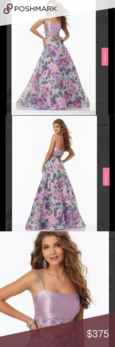 Mori Lee beautiful Prom dress 2 piece Mori Lee Prom dress. Lavender and multi colored. Beautiful beaded detail in top. New with tags! Mori Lee Dresses Prom