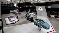 As part of the brand exhibit, Porsche is presenting seven select show cars at the Volkswagen Group Forum DRIVE in Berlin – for example the 718 Boxster. Stand Design, Booth Design, Exhibition Display, Exhibition Stands, Sports Car Brands, Volkswagen Group, Cafe Chairs, Porsche 356, Top Cars